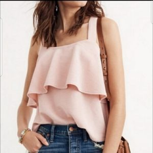 NWT Madewell pink cross top tank blouse size XL